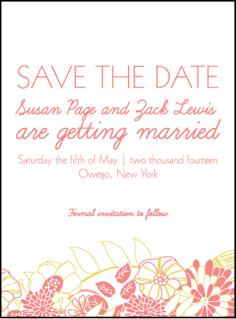 Floral Wreath Letterpress Save The Date Design Medium