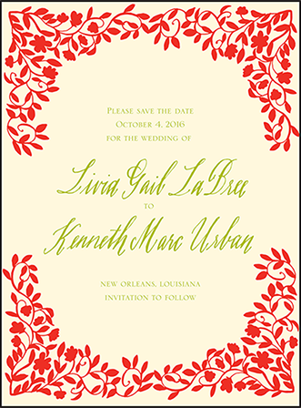French Quarter Letterpress Save The Date Design Medium