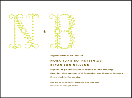 Garden Vine Letterpress Invitation Design Medium