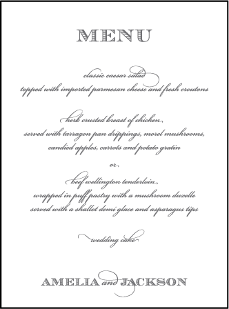 Gracelyn Vintage Letterpress Menu Design Medium