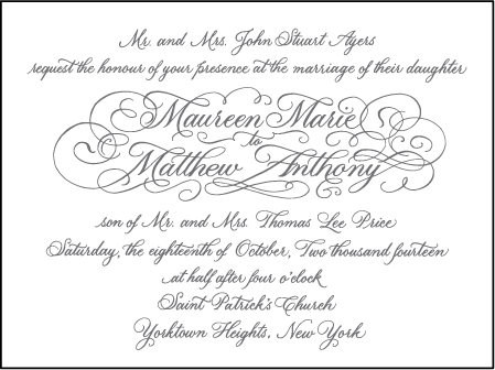 Hayes Calligraphy Letterpress Invitation Design Medium