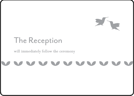 Hummingbirds Letterpress Reception Card Medium