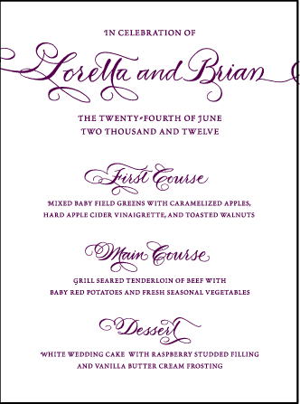 Loretta Formal Letterpress Menu Design Medium