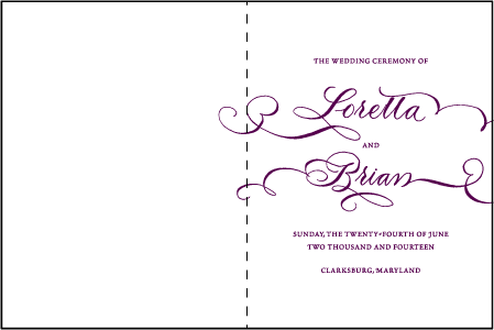 Loretta Formal Letterpress Program Design Medium