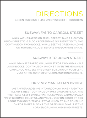Modern Brooklyn Letterpress Direction Design Medium