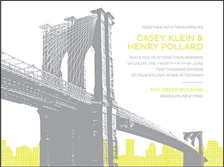 Modern Brooklyn Letterpress Invitation Design Medium