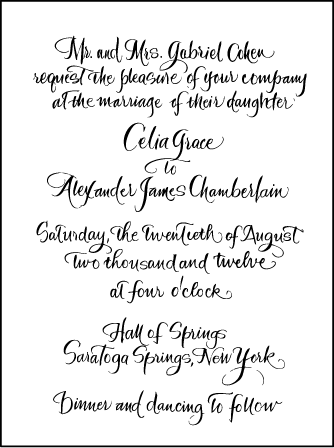 Modern Calligraphy Letterpress Invitation Design Medium