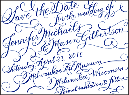 New Calligraphy Letterpress Save The Date Design Medium