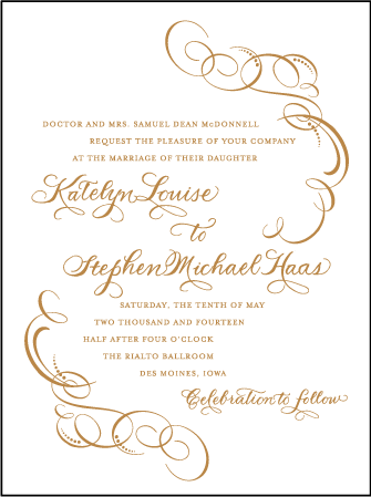 Ornate Flourish Letterpress Invitation Design Medium
