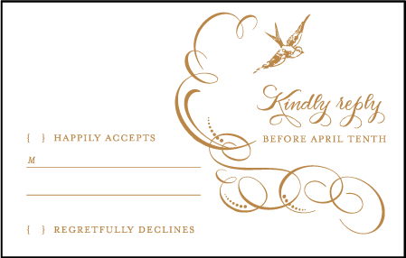 Ornate Flourish Letterpress Reply Postcard Front Design Medium