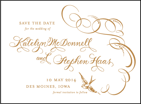 Ornate Flourish Letterpress Save The Date Design Medium
