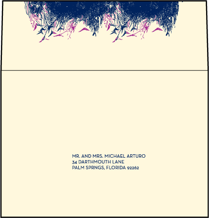 Peacock Full Body Letterpress Reply Envelope Design Medium