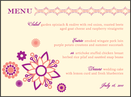 Rangoli Letterpress Menu Design Medium