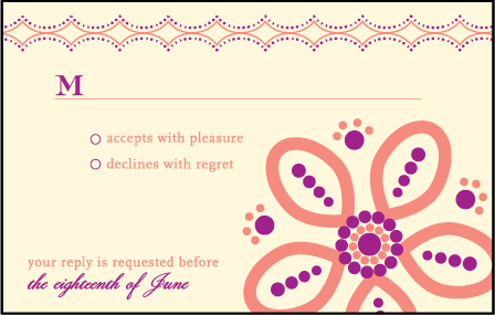 Rangoli Letterpress Reply Postcard Front Design Medium
