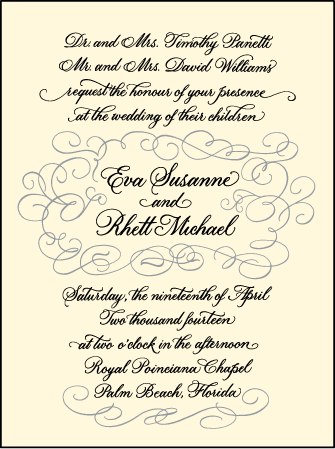 Revival Calligraphy Letterpress Invitation Design Medium
