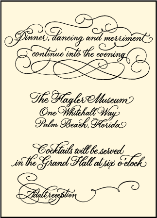 Revival Calligraphy Letterpress Reception Design Medium