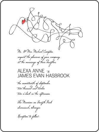 Ribbon Heart Letterpress Invitation Design Medium
