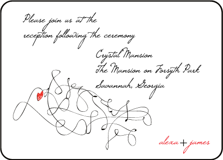 Ribbon Heart Letterpress Reception Design Medium