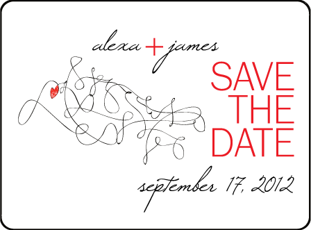 Ribbon Heart Letterpress Save The Date Design Medium