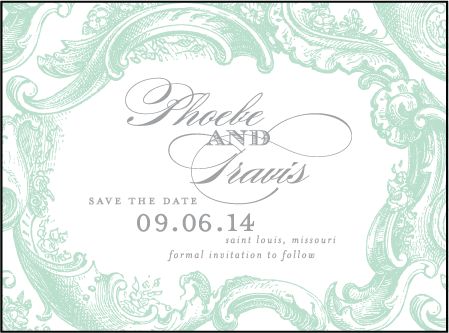 Rococo Elegance Letterpress Save The Date Design Medium