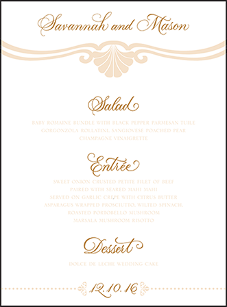 Rosecliff Letterpress Menu Design Medium