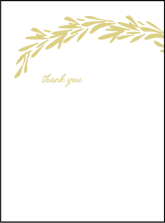 Rosemary Letterpress Thank You Card Flat Design Medium