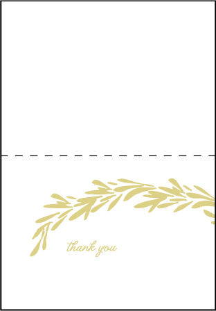 Rosemary Letterpress Thank You Card Fold Design Medium