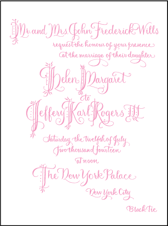Royal Calligraphy Letterpress Invitation Design Medium