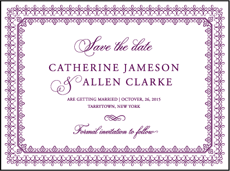 Royal Frame Letterpress Save The Date Design Medium