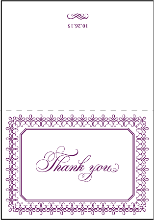 Royal Frame Letterpress Thank You Card Fold Design Medium