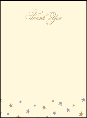 Royal Night Letterpress Thank You Card Flat Design Medium