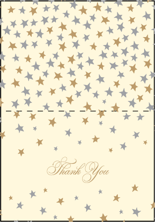 Royal Night Letterpress Thank You Card Fold Design Medium