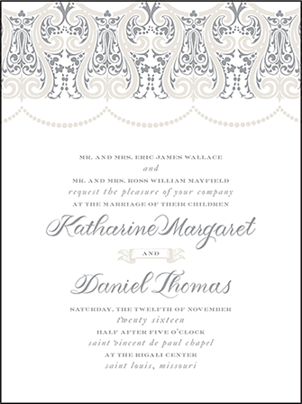 Royal Valance Letterpress Invitation Design Medium