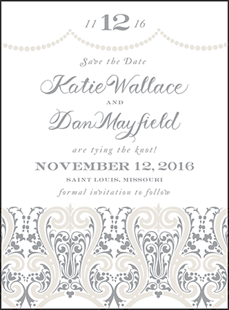 Royal Valance Letterpress Save The Date Design Medium