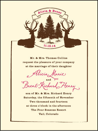 Rustic Lookout Letterpress Invitation Design Medium