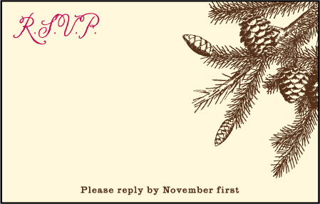 Rustic Lookout Letterpress Reply Postcard Front Design Medium