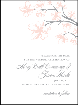 Sakura Letterpress Save The Date Design Medium