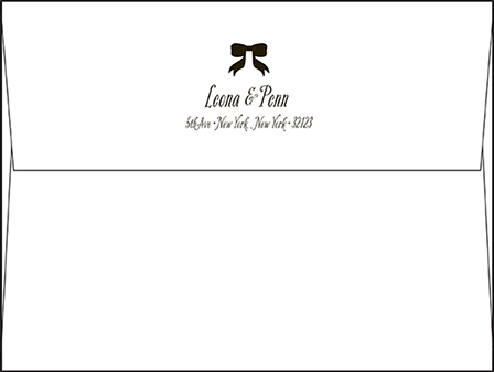 Simple Bow Letterpress Envelope Design Medium