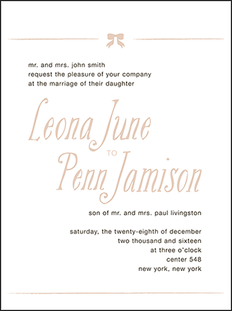 Simple Bow Letterpress Invitation Design Medium