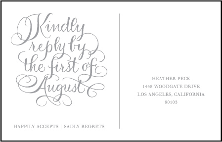 Simple Charms Letterpress Reply Postcard Front Design Medium