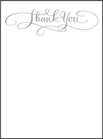 Simple Charms Letterpress Thank You Card Flat Design Medium