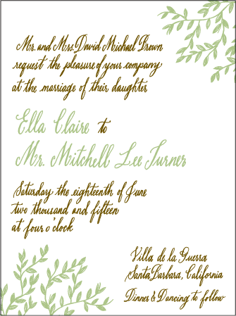Sonoma Calligraphy Letterpress Invitation Design Medium