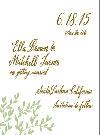 Sonoma Calligraphy Letterpress Save The Date Design Medium