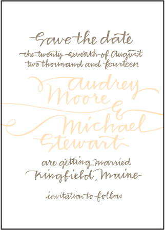 String Calligraphy Letterpress Save The Date Design Medium