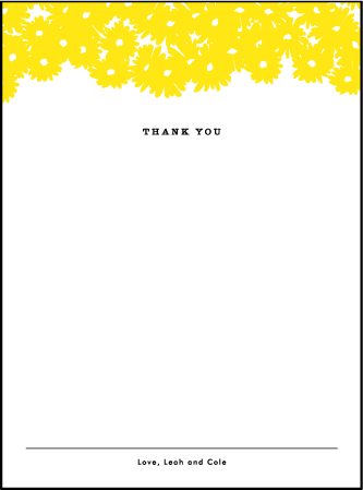Sweet Daisy Letterpress Thank You Card Flat Design Medium