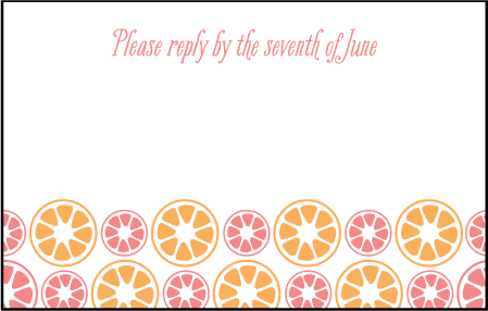Sweet Summer Letterpress Reply Postcard Front Design Medium