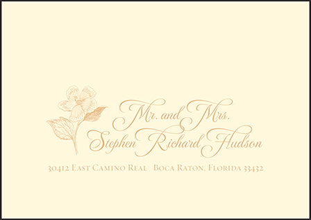 Traditional Palm Letterpress Reply Envelope Design Medium