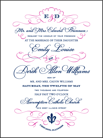 Traditional Script Letterpress Invitation Design Medium