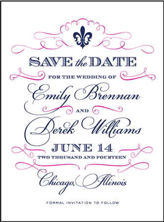Traditional Script Letterpress Save The Date Design Medium