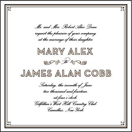 True Vintage Letterpress Invitation Design Medium